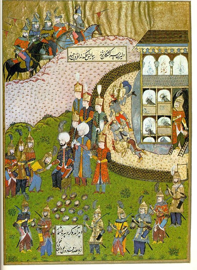 After the Capture of Temesvár (1552 CE) (Hünernâme (1588 CE Ottoman Miniature Painting) -Seyyid Lokman) | Sipahi (Ottoman Turk Cavalry (Mounted/Foot, Armored)), Silahtar (Ottoman Emperor Bodyguard (Red Cap))