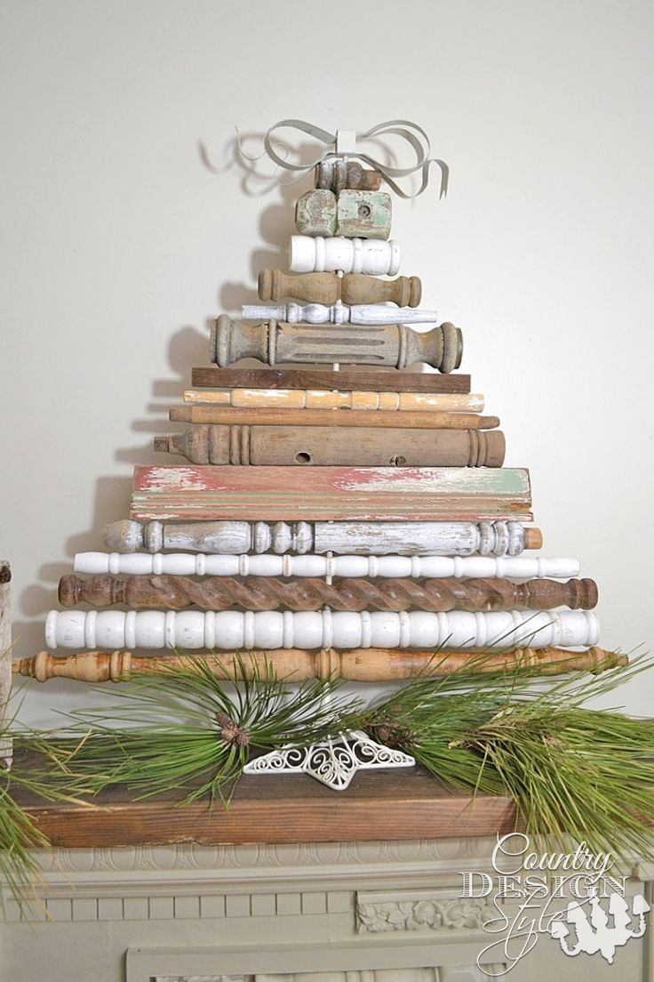 Vintage style DIY idea for Christmas tree decor made from my collection of old spindles | countrydesignstyle.com