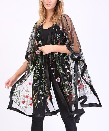 Look what I found on #zulily! Black Floral Embroidered Sheer Kimono - Plus Too #zulilyfinds