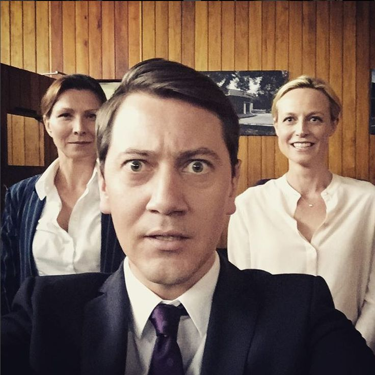 Another Set selfie  Anita Hegh, Hamish Michael, Marta Dusseldorp, Janet King season 2.