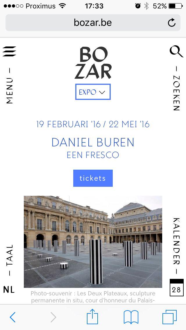 Daniël Buren @ Bozar Brussel  Tot 22 mei 2016  Buren is ook de kunstenaar van de prachtige Anneaux in Nantes!!!