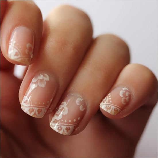chic lace wedding nail nude design