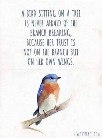 A bird sitting on a tree is never afraid of the branch breaking because her trust is not on the branch but on her own wings  (356 × 480 pixels)