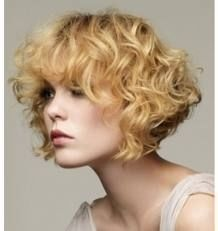 Soft, curly bob with bangs!