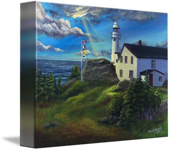 "Acrylic painting - Lobster Cove Head Lighthouse, Rocky Harbour - Gros Morne National Park, Newfoundland & Labrador. ""Lobster+Cove+Head+Lighthouse+Gros+Morne+NL""+by+Kimberly+Ropson,++//+Lobster+Cove+Head+Lighthouse+in+Rocky+Harbour,+Gros+Morne+National+Park,+Newfoundland+Labrador+//+Imagekind.com+--+Buy+stunning+fine+art+prints,+framed+prints+and+canvas+prints+directly+from+independent+working+artists+and+photographers."