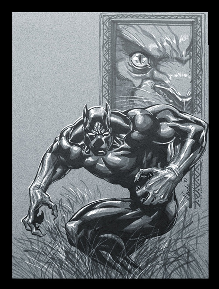The Black Panther: Comic Heroes, Animal Art, Comic Marvel, Comic Artographi, Marvel Comic, Black Panthers, Comic Animal, Adult Cartoon, Black Heroes