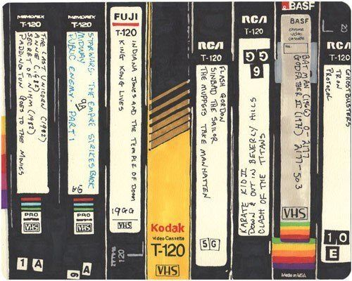 Recording TV shows & movies on VHS tapes. You had to break off the little tab to be sure they couldn't be recorded over! :)