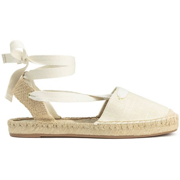 Espadrilles $29.99 ($30) ❤ liked on Polyvore featuring shoes, sandals, espadrilles shoes, lace up espadrilles, white shoes, espadrille sandals and lace up shoes