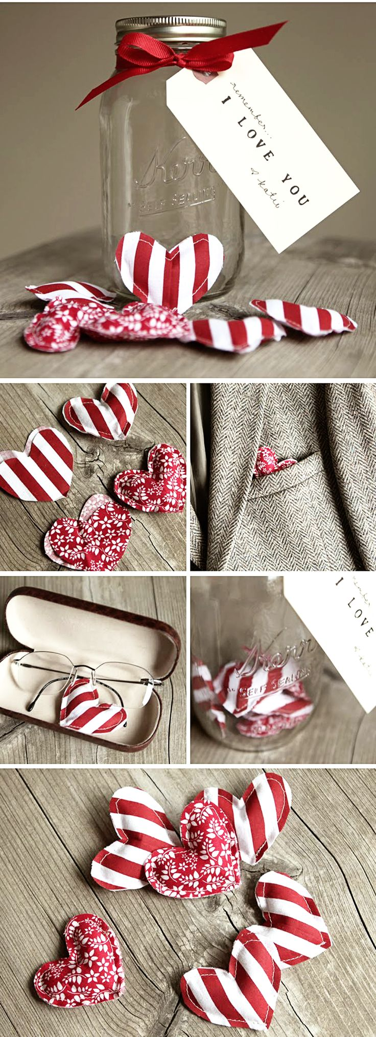 I think it would be cute to attach a small note to each heart with one thing you love about the person and hide them around the house, car, etc. for him/ her to find throughout the day and collect in their jar