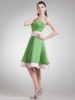 Destry - Satin A-Linie knielangen Kleid Brautjungfer - EUR 88,24€