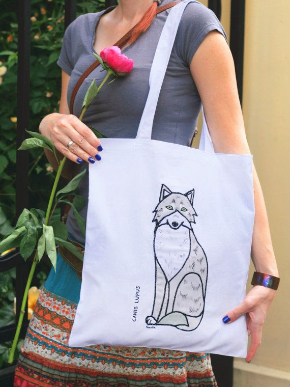 Shopping/tote bag with and appliquéed painted wolf by SkadiaArt