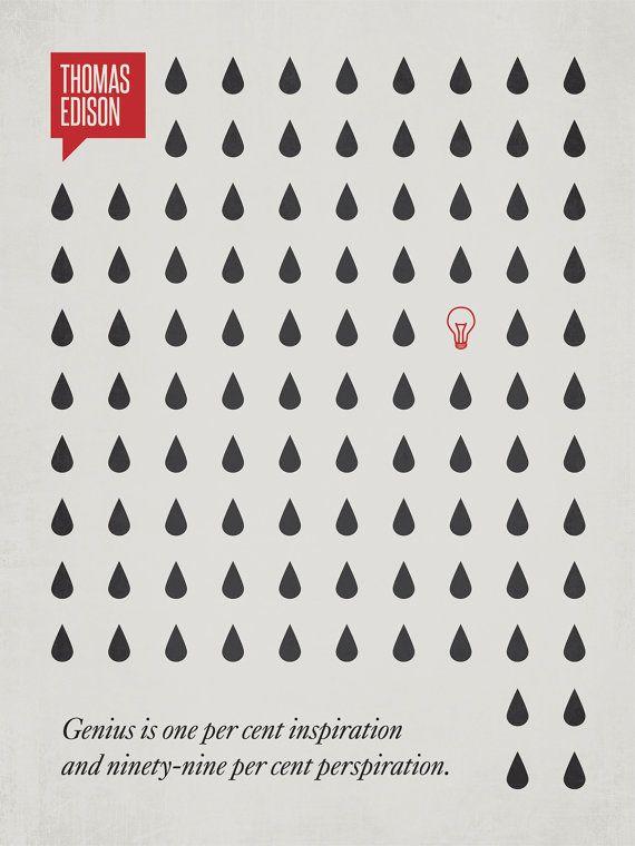 Thomas Edison quote poster - minimalist design