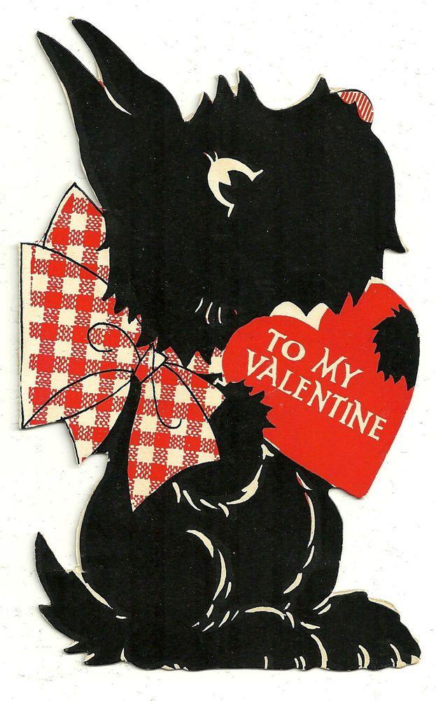 SCOTTIE DOG WITH A VALENTINE MESSAGE / VINTAGE DIECUT SCOTTY VALENTINE CARD