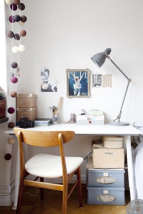 Retro study with cotton ball lights
