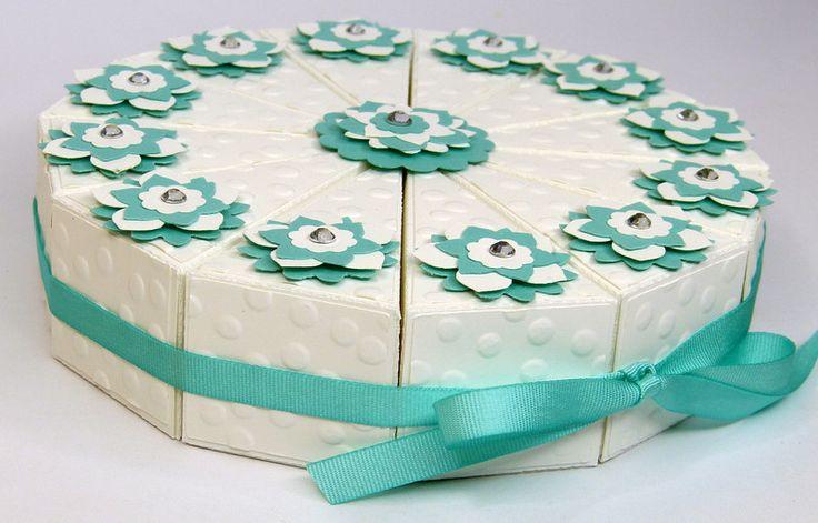 """Geschenke für Frauen - Mini Geburtstagstorte Papiertorte """"Jade"""" - ein Designerstück von Stempelitis bei DaWanda"""