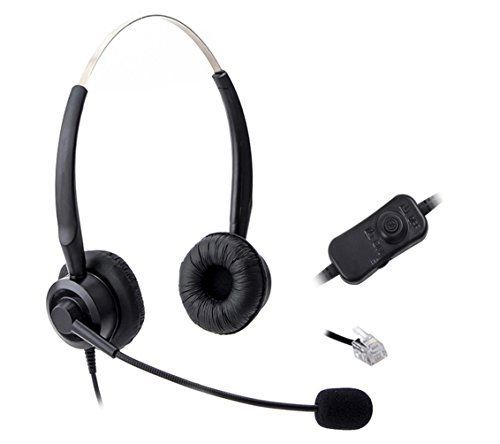 Comdio CH201VA6 Corded Call Center Phone Headset Headphones Ear Phone + Volume Mute Control for Polycom SoundPoint IP Phone Series 300 301 430 500 501 550 600 Lazerbuilt Orchid Packet8 Ip Telephone
