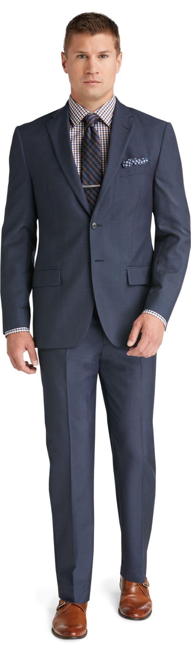 Reserve 2 Button Plain Front Slim Fit Blue Herringbone Suit