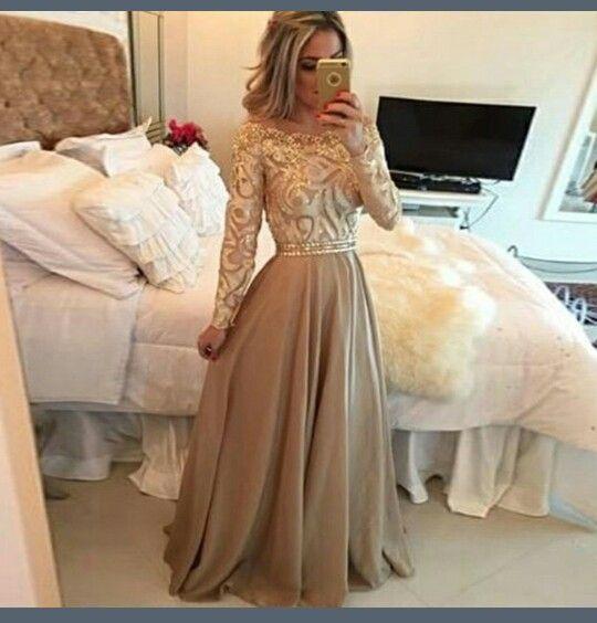 Vestido de fiesta dorado...  hermosoo!