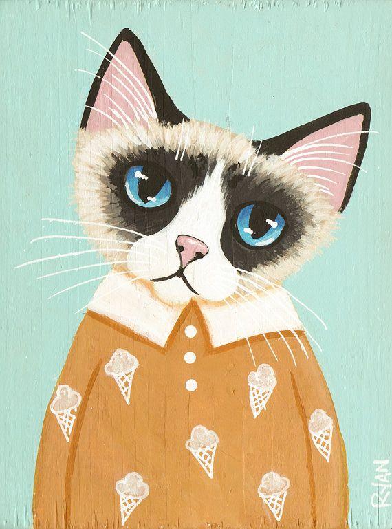 Snowshoe Kitty  Original CAT Folk Art MINI Painting by KilkennycatArt