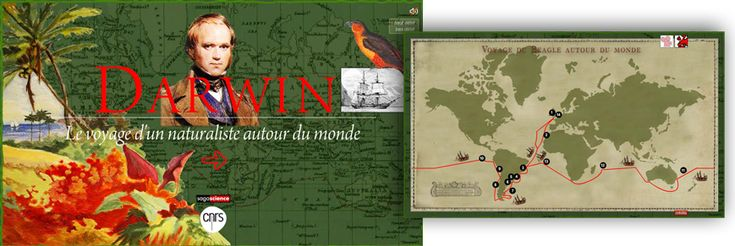 An outstanding virtual tour of Charles Darwin's nearly five year journey on the Beagle. Throughout the tour viewers will see sketches from the journey, hear readings from Darwin's journals, and learn about the journey    http://www.cnrs.fr/cw/dossiers/dosdarwinE/darwin.html
