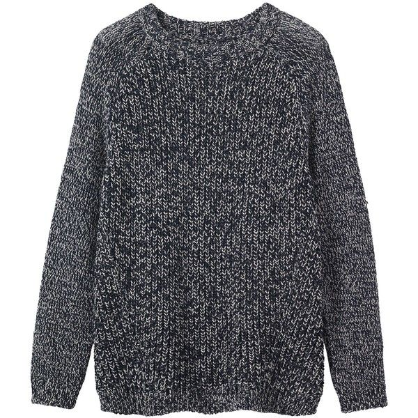 Toast Wool Marl Pullover found on Polyvore featuring tops, sweaters, clothes - outerwear, darkest navy, blue pullover sweater, ribbed sweater, navy blue pullover sweater, raglan sweater and navy sweater