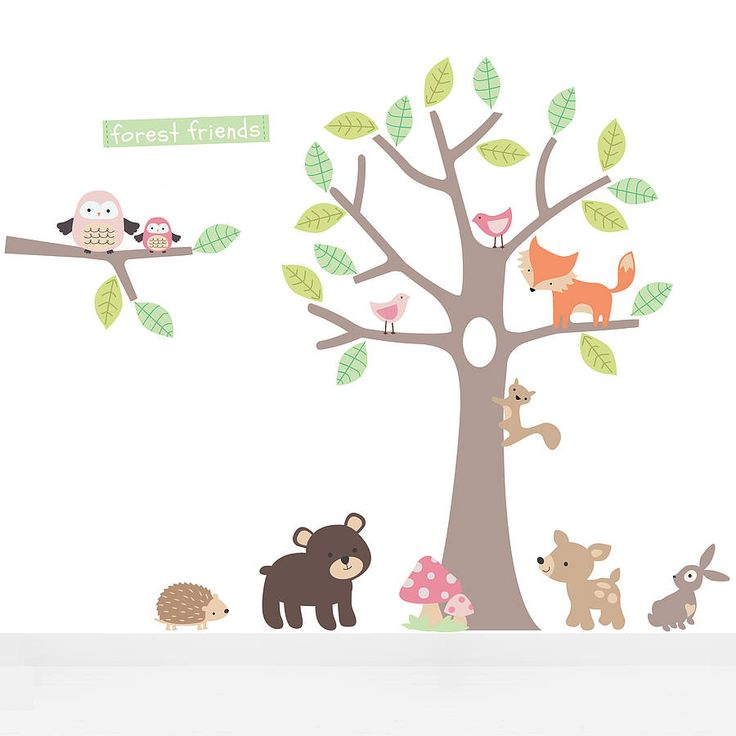 Pastel Forest Friends Fabric Wall Stickers