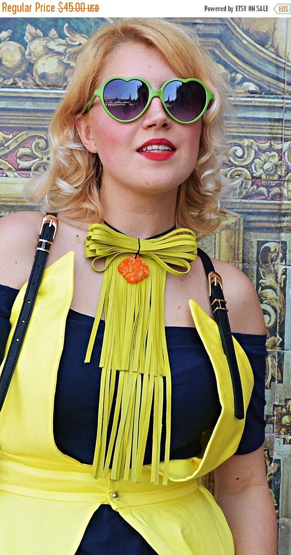 New in our shop! SUN SALE 15% OFF Extravagant Lemon Yellow Leather Necklace, Ribbon Leather Necklace, Genuine Leather Necklace with Acrylic Rhinestone Tlj58, https://www.etsy.com/listing/533679675/sun-sale-15-off-extravagant-lemon-yellow?utm_campaign=crowdfire&utm_content=crowdfire&utm_medium=social&utm_source=pinterest