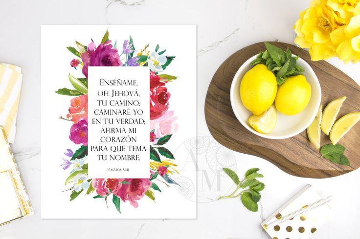 Psalm 86:11 in SPANISH | Salmos 86 | Style 1102 |  Bible Verse Printable | Scripture Wall Art Christian Cristiano Carteles DIGITAL Art by AnayaMichelleDecor on Etsy