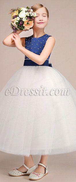 de9859eae Lovely Long Flower Girl Dress With Spot Blue Top (27192305 ...