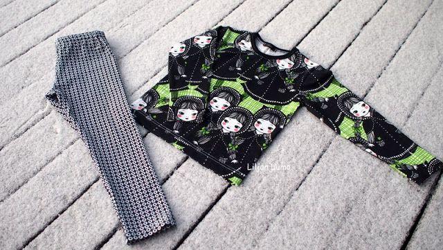 Liljan Lumo: Marttoja ja pikkukukkia Sewing shirt and leggings for a girl, Verson Puoti, Martat