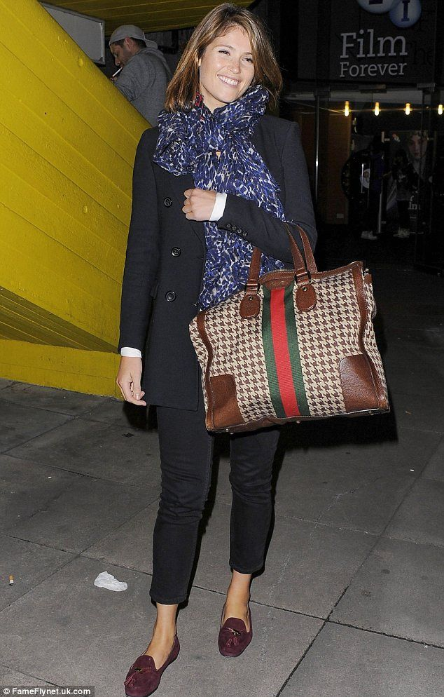 Keeping it casual: With black trousers, flats and a blue scarf, Gemma's outfit was extreme...