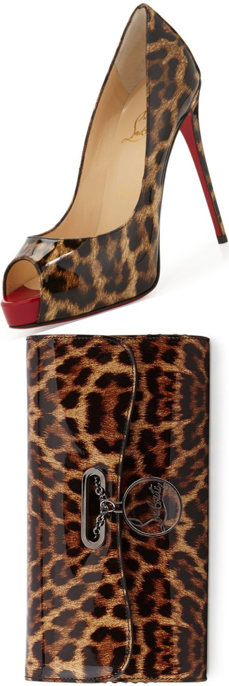 Christian Louboutin New Very Prive Leopard-Print Patent Red Sole Pump and Christian Louboutin Riviera Leopard-Print Clutch Bag