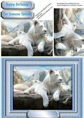 Beautiful Snow Lion in the Mountains  on Craftsuprint - Add To Basket!