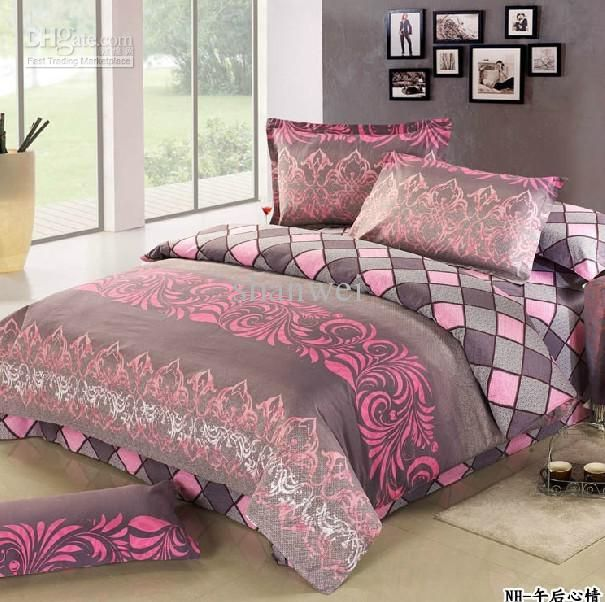 Pink And Grey Bedding Set