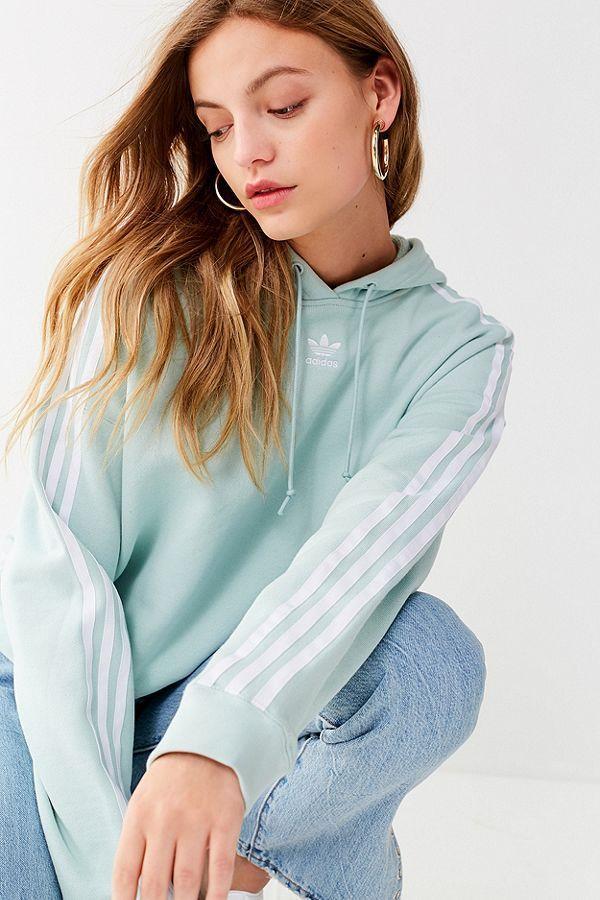 bff56f2c5cb7 Slide View: 6: adidas Originals Adicolor 3 Stripes Cropped #hoodie  Sweatshirt (Mint) (Small)