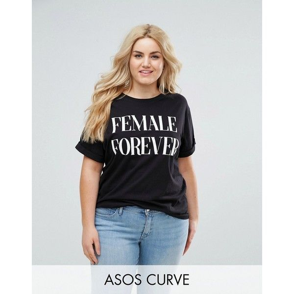 ASOS CURVE T-Shirt with Female Forever Print ($20) ❤ liked on Polyvore featuring tops, t-shirts, black, plus size, short sleeve tee, longline t shirt, short sleeve crew neck t shirt, plus size t shirts and crew neck t shirt