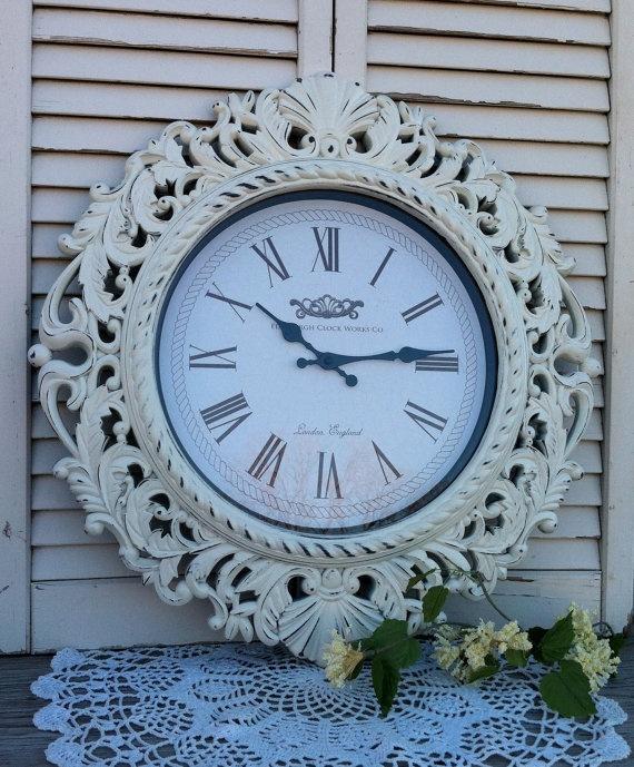 Large Baroque Wall Clock Ornate Shabby by RepurposedTreasure4U, $55.00