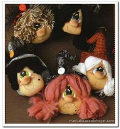 Brujas de tela estilo country para Halloween.