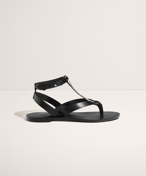 Oysho - Skórzane sandały z ozdobą