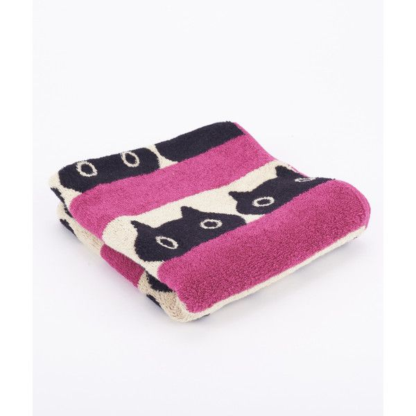 Pink Cat Hand Towel (31 CAD) ❤ liked on Polyvore featuring home, bed & bath, bath, bath towels, patterned hand towels, pink hand towels, embellished bath towels, patterned bath towels and linen bath towels