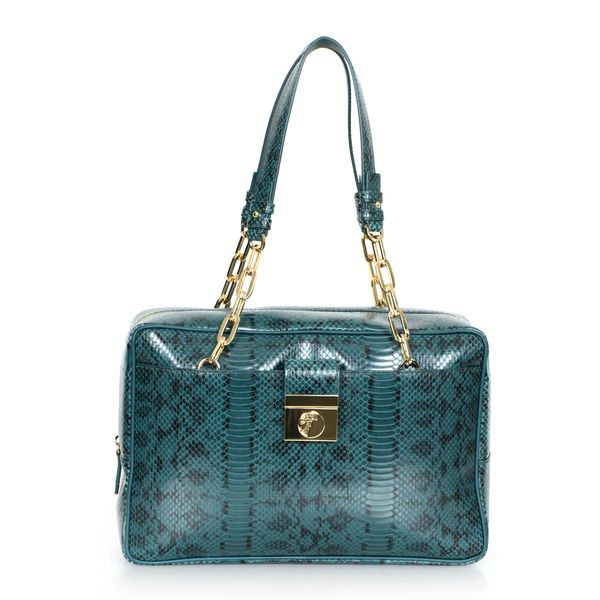 Versace Collection Reptile Embossed Leather Satchel