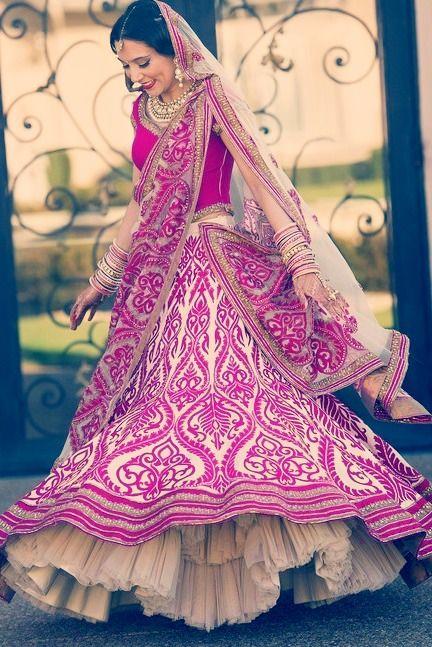 Fuschia pink balanced with white