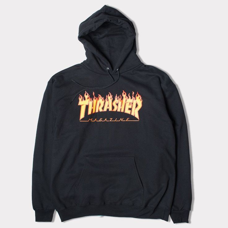 The Thrasher Flame Logo Hooded Sweatshirt is an iconic part of skateboard culture. Thrasher clothing has been part of skateboarders style many decades and it doesn't go out of style. Often ripped off,