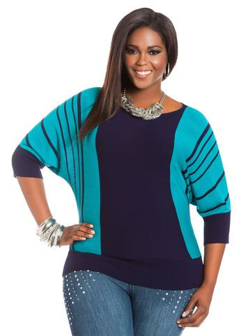 Ashley Stewart Striped Batwing Sweater
