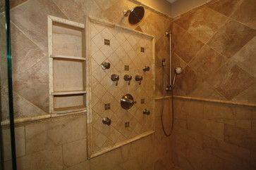 Tile Shower w shelf - mediterranean - showers - cleveland - Architectural Justice