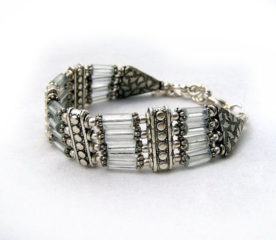 Beaded glass bracelet beadwork bracelet silver bracelet by jwstyle, $32.00