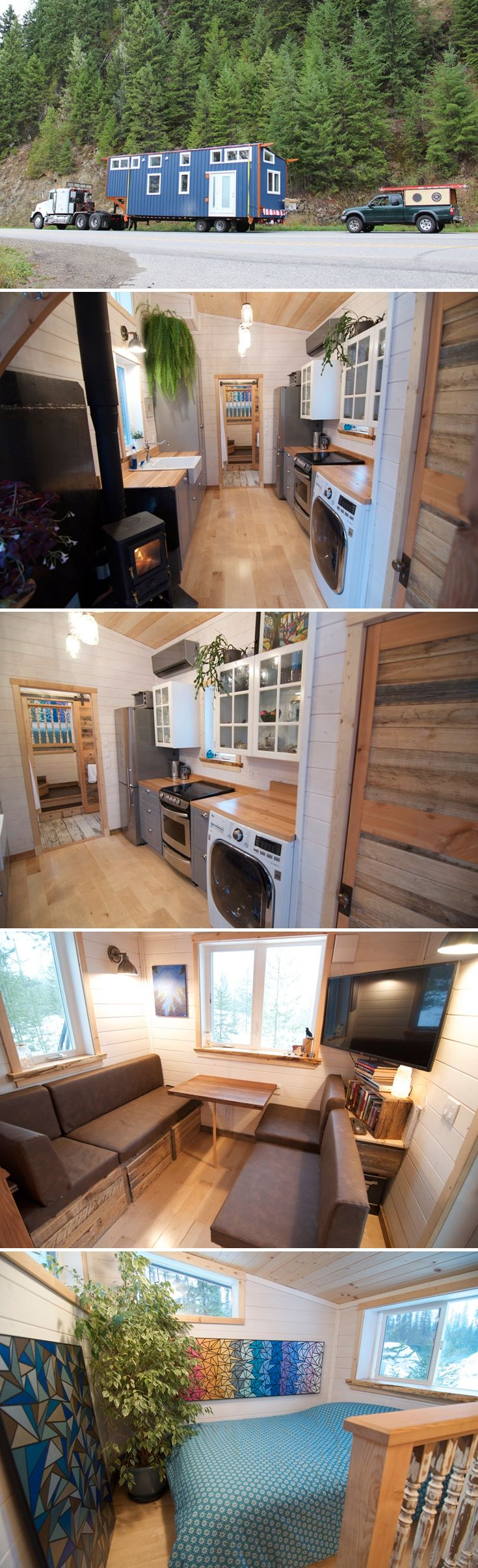 The Winter Wonderland is a customized off-grid V House built by Nelson Tiny Houses. This is their largest V House to date, measuring 380-square-feet.