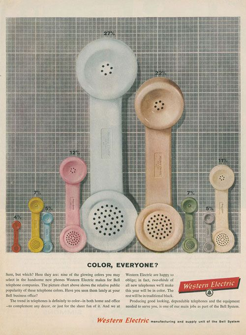Color, Everyone?Colors Charts, Vintage Phones, Creative Ideas, Westerns Electric, Vintage Wardrobe, Vintage Ads, Telephone, Bar Graph, Vintage Advertising