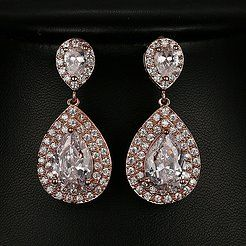 Double pave drop cz earrings | Rose Gold |