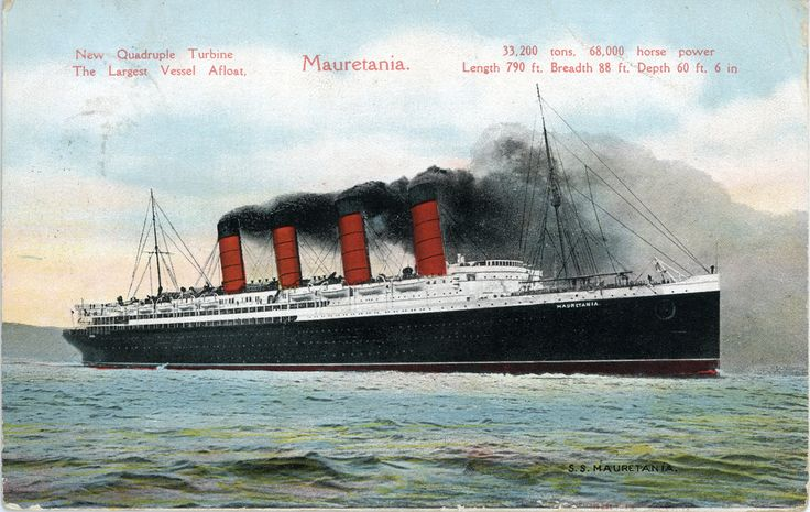 https://flic.kr/p/98j3g6 | RMS Mauretania | Vintage postcard of the Cunard liner RMS Mauretania, posted 1907.